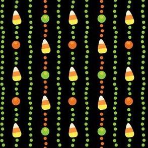 Halloween Candy Corn, Poka Dot Stripes on Black