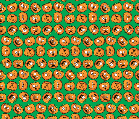 Halloween Funny Pumpkin, Jack-o-lantern Faces on Green fabric by khaus on Spoonflower - custom fabric