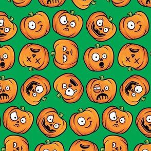 Halloween Funny Pumpkin, Jack-o-lantern Faces on Green