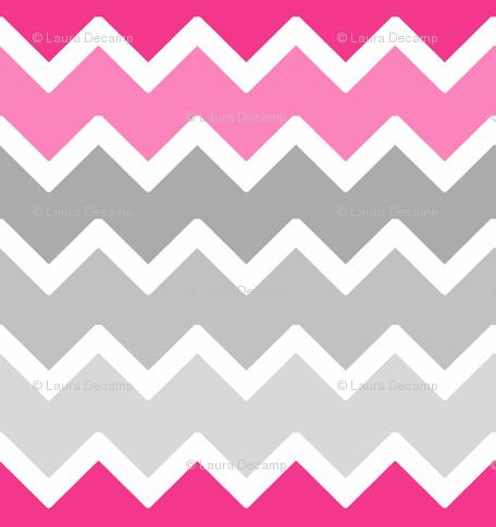 9bcb220186de hot pink grey gray ombre chevron zigzag pattern fabric - decamp studios -  Spoonflower