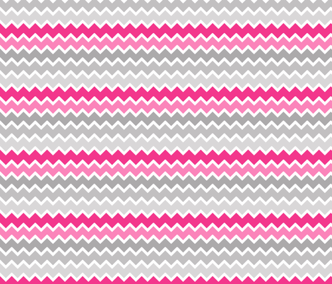 hot pink grey gray ombre chevron zigzag pattern fabric ...