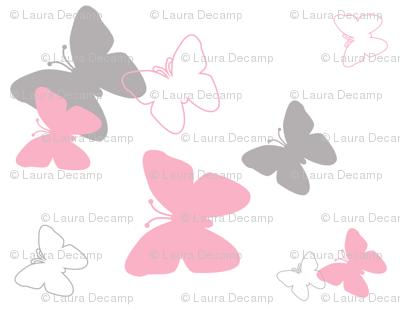 pink grey gray butterfly pattern