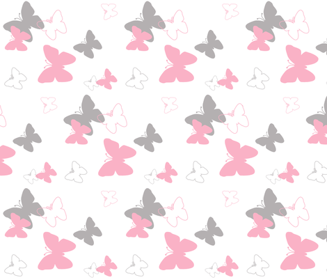 pink grey gray butterfly pattern fabric by decamp_studios on Spoonflower - custom fabric