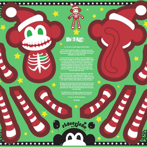 "FQ - 16"" Skeleton Santa Monkey Cut & Sew Doll"