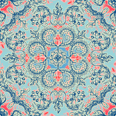 Gypsy Floral in Red and Blue