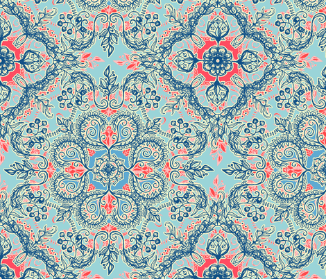 Gypsy Floral in Red and Blue fabric by micklyn on Spoonflower - custom fabric