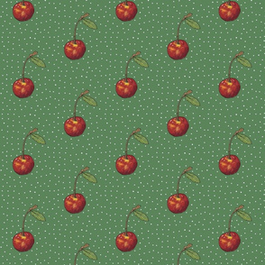 Dark Green Cherry on Polkas
