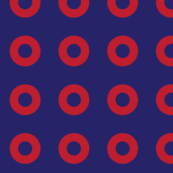 Red Donut Circles on Blue
