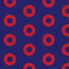 Fishman Donuts -Red Donut Circles on Blue