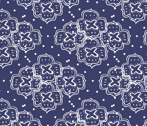 doodle ogee dark Blue fabric by pixabo on Spoonflower - custom fabric