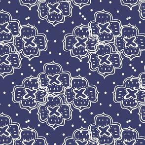 doodle ogee dark Blue