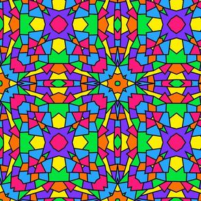 Rainbow Mosaic Kaleidoscope Pattern