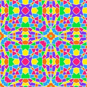 Rainbow Mosaic Kaleidoscope Stained Glass Window