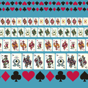 Blue Playing Cards Border Print