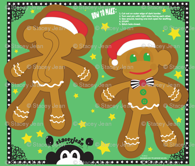 "YD - 20"" x 28"" Gingerbread Monkey Cut & Sew Pillow Doll"