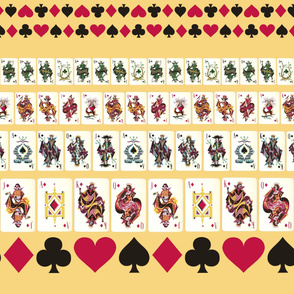Yellow Playing Cards Border Print