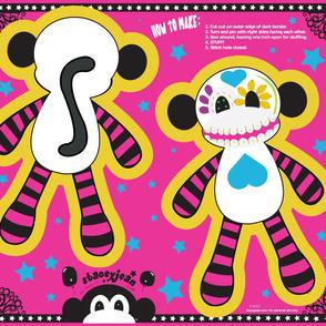 "YD - 20"" x 28"" Sugar Skull Cut & Sew Pillow Doll"