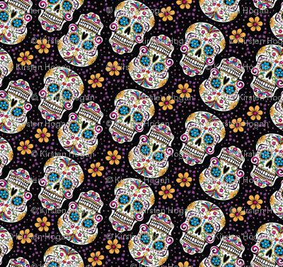 Sugar Skull Day Of The Dead Black
