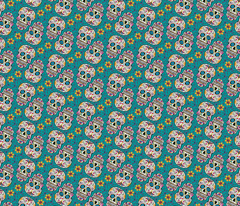Sugar Skull Day Of The Dead Teal fabric by khaus on Spoonflower - custom fabric