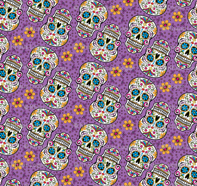 Sugar Skull Day Of The Dead Purple