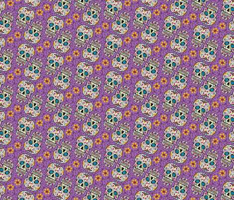 Sugar Skull Day Of The Dead Purple fabric by furbuddy on Spoonflower - custom fabric