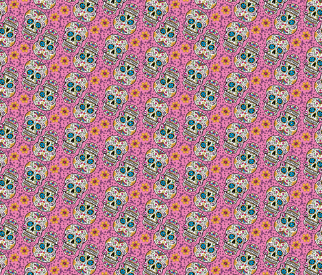 Sugar Skull Day Of The Dead Pink fabric by khaus on Spoonflower - custom fabric