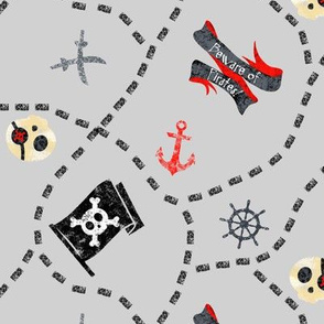 Chalk Pirates Map Grey Black Red