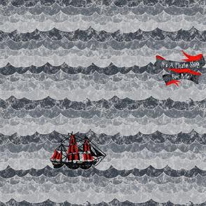 Chalk Pirates Ship Grey Black Red
