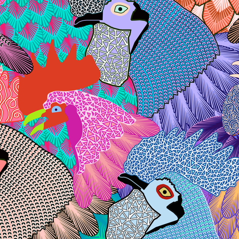 Roosters & Chickens - LARGE fabric by rubydoor on Spoonflower - custom fabric