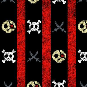 Chalk Pirate Stripes Black Red Grey Ivory