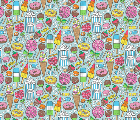 Sweets,Ice Cream,Donuts and Candy fabric by caja_design on Spoonflower - custom fabric