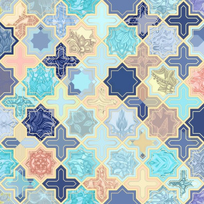 Navy, Peach and Aqua Moroccan Tile Pattern
