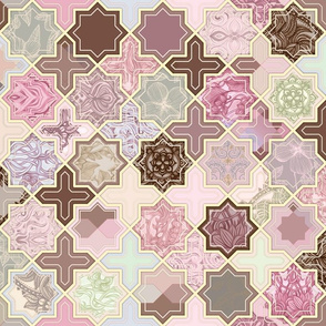 Decorative Geometric Tiles in Neapolitan Colors
