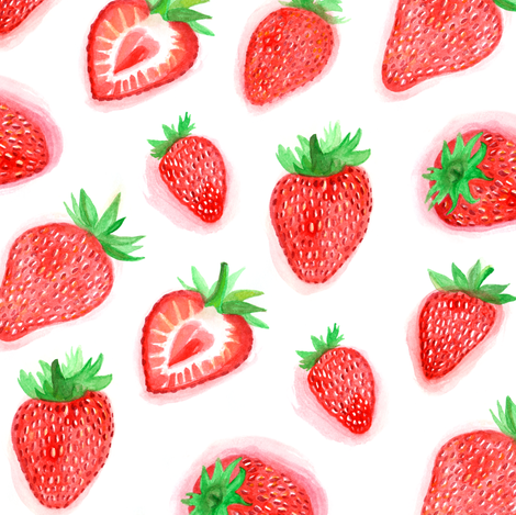Watercolour Strawberries fabric by ornaart on Spoonflower - custom fabric