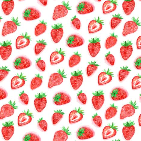 Watercolour Strawberries fabric by ornaart on Spoonflower - custom fabric