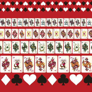 Red Playing Cards Border Print