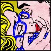 2 pop art comics girl woman kiss hug vintage retro blue spectacles glasses shirt roy lichtenstein inspired white polka dots spots crying tears