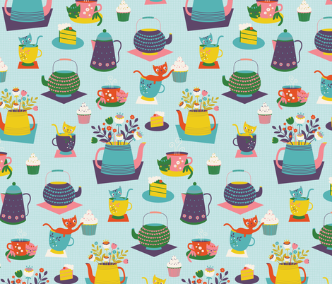 Cat Tea Party fabric by zesti on Spoonflower - custom fabric