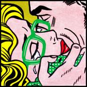 4 pop art comics girl woman kiss hug vintage retro green spectacles glasses shirt roy lichtenstein inspired crying tears white polka dots spots