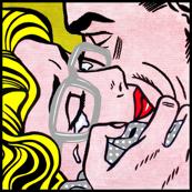 5 pop art comics girl woman kiss hug vintage retro grey gray spectacles glasses shirt roy lichtenstein inspired crying tears white polka dots spots