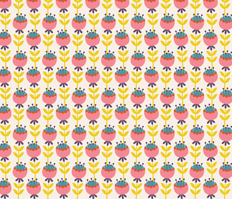 Cat Tea Party Tulips fabric by zesti on Spoonflower - custom fabric