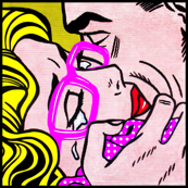 6 pop art comics girl woman kiss hug vintage retro neon pink spectacles glasses shirt roy lichtenstein inspired crying tears white polka dots spots