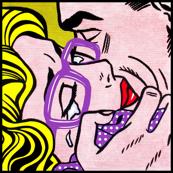 7 pop art comics girl woman kiss hug vintage retro purple spectacles glasses shirt roy lichtenstein inspired crying tears white polka dots spots