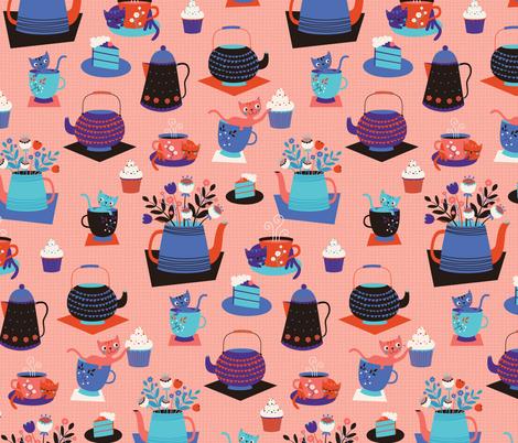 Cat Tea Party fabric by zesti on Spoonflower - custom fabric