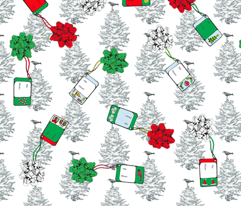Christmas Bows and Tags fabric by swampwitch on Spoonflower - custom fabric
