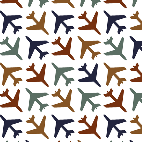 airplanes_navy_rust_blue_gold on White background fabric by googoodoll on Spoonflower - custom fabric