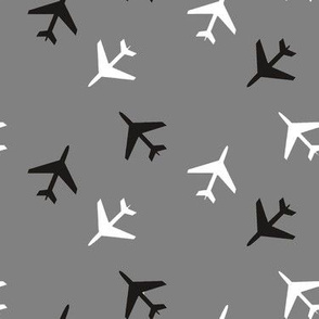 Black_and_White_Airplanes_Gray_Background