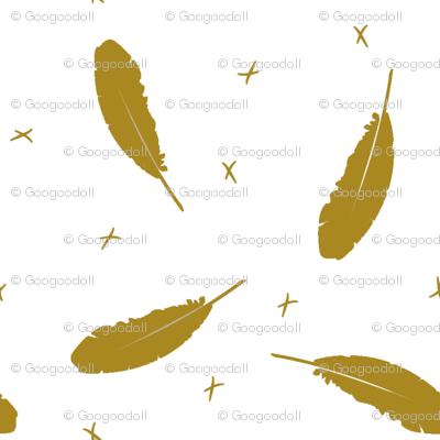 Gold_Feathers_on_White_Background