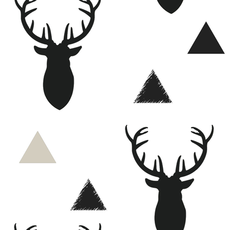 Black and White Deer Heads Large Scale fabric by googoodoll on Spoonflower - custom fabric