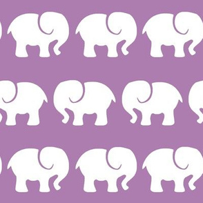 White Elephants on Purple Background